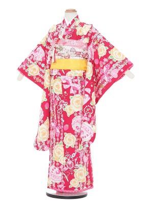 七五三レンタル(7歳女の子結び帯)A764 SEIKO MATSUDA 赤地
