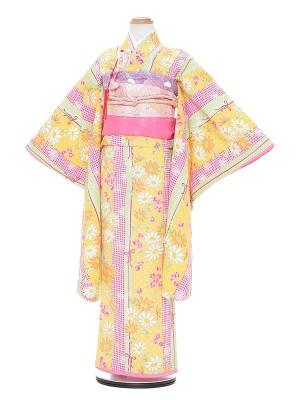 七五三レンタル(7歳女の子結び帯)A788 ぷちぷり 黄色 ストライプ
