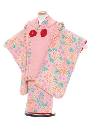 七五三レンタル(3歳女被布)A351 ピンク地 菊