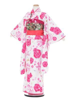 七五三レンタル(7歳女の子結び帯)A785 SEIKO MATSUDA 白地