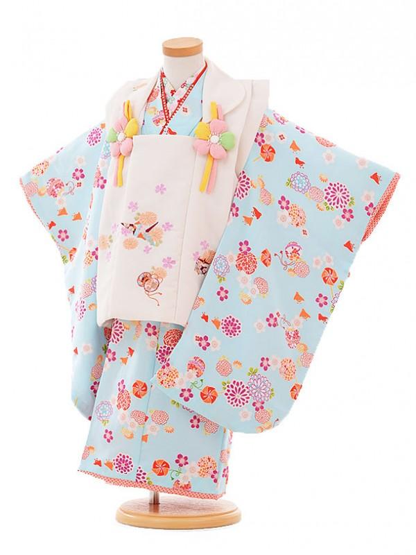 七五三レンタル(3歳女被布)A313 R・KIKUCHI白×水色花まり