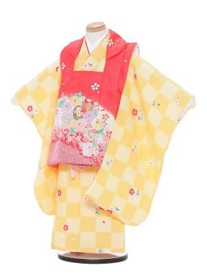 七五三レンタル(3歳女被布)A359 赤×黄色 市松