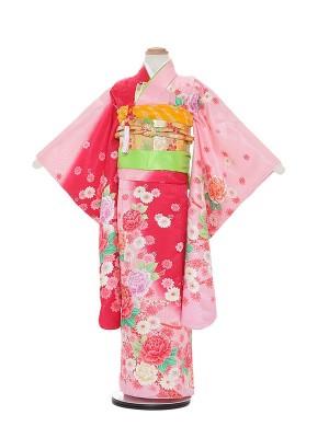 七五三レンタル(7歳女の子結び帯)A802 ピンク地 薔薇