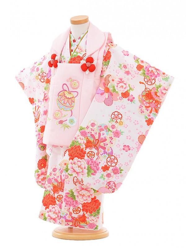 七五三レンタル(3歳女被布)A321 ピンク鈴×白鼓に花