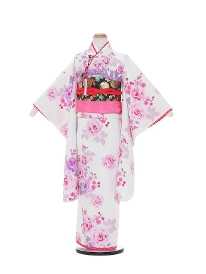 七五三レンタル(7歳女の子結び帯)A769 SEIKO MATSUDA 白地