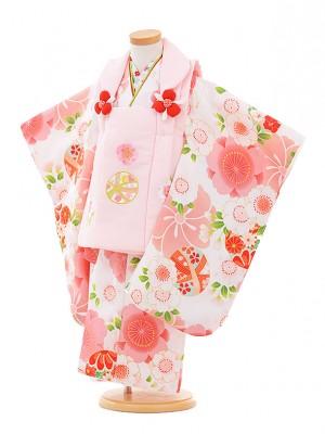 七五三レンタル(3歳女被布)A315 ピンクまり×白桜