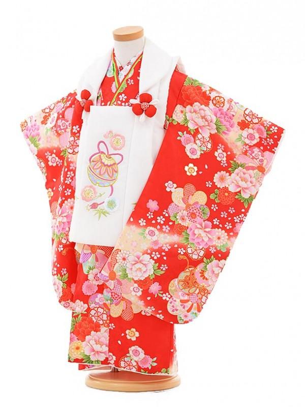 七五三レンタル(3歳女被布)A318 白鈴×赤鼓に花