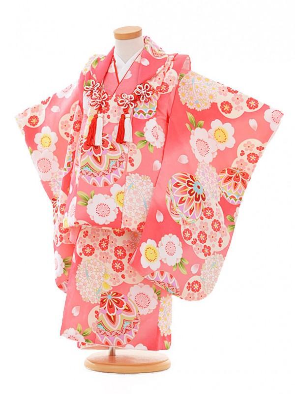 七五三レンタル(3歳女被布)A302 ピンク地 鞠