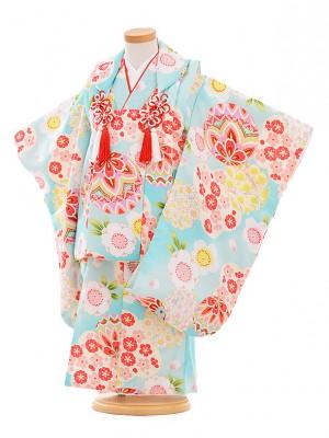 七五三レンタル(3歳女被布)A304 水色 まり梅桜