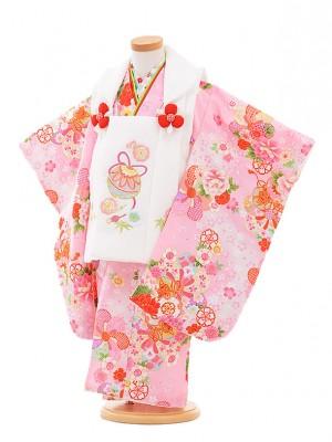 七五三レンタル(3歳女被布)A319 白鈴×ピンク鼓に花