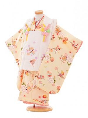 七五三レンタル(3歳女被布)A308 R・KIKUCHI白×クリーム色ぼたん折鶴