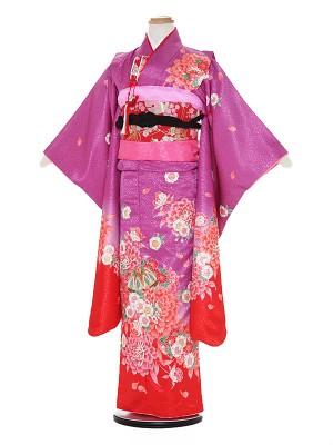 七五三レンタル(7歳女の子結び帯)A718 紫地 花に牡丹