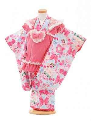 七五三レンタル(3歳女被布)A334 SEIKO MATSUDA ピンク×水色