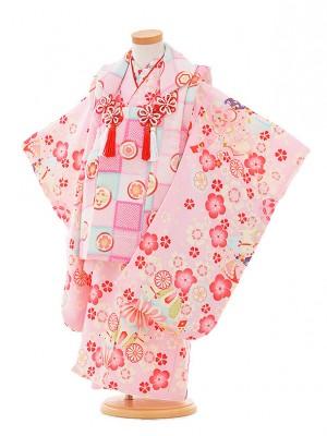 七五三レンタル(3歳女被布)A323 ピンク地 小花