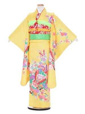 七五三レンタル(7歳女の子結び帯)A731 黄色地 花に蝶々