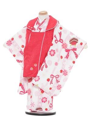 七五三レンタル(3歳女被布)A353 SHY KIDS 赤×白