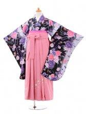 小学生卒業式袴女児jh0958黒ぼたん×袴ピンク
