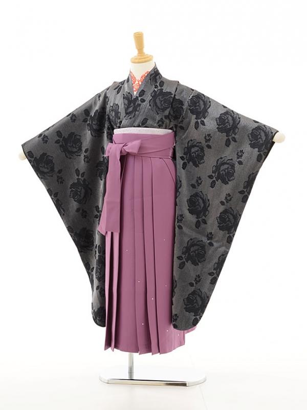 ジュニア着物(女の子袴)0797シルバーグレー黒バラ×