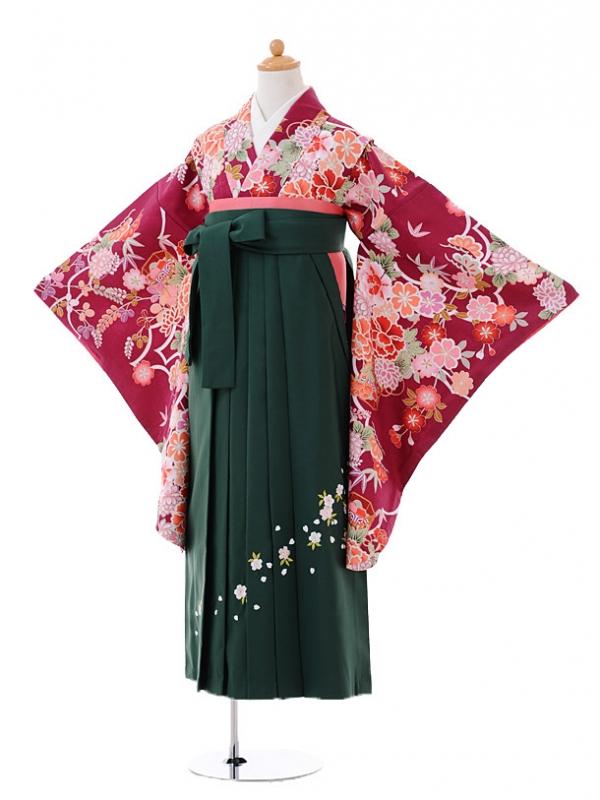 小学生卒業式袴女児0983ワイン地四季花×緑袴