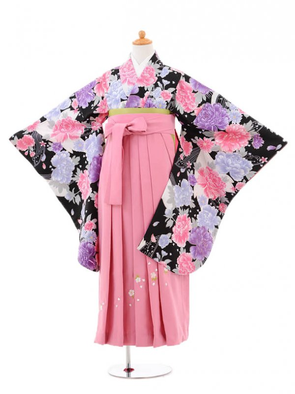 小学生卒業式袴女児jh0962黒ぼたんに小花×