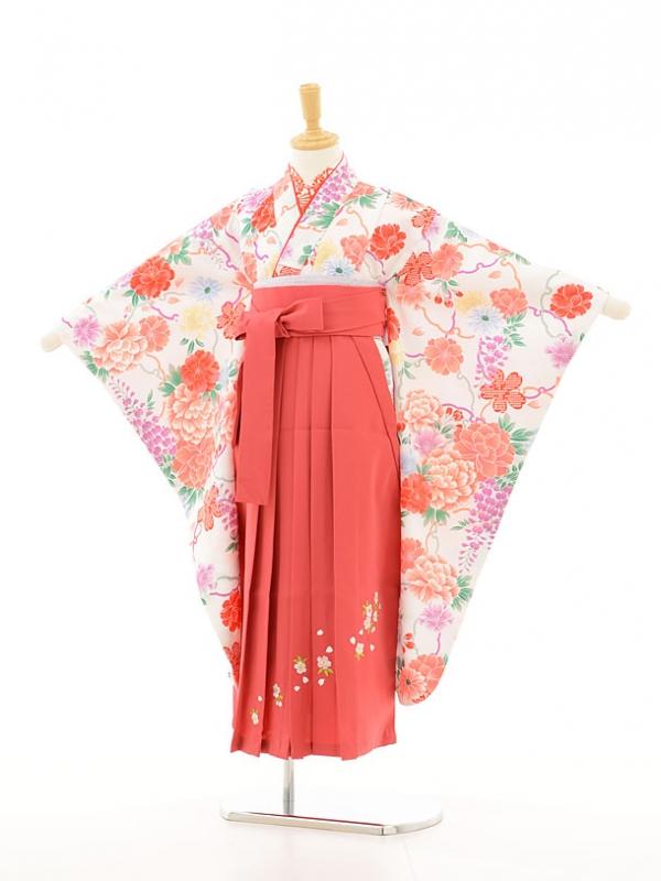 ジュニア着物(女の子袴)0781白地花×ピンク刺繍