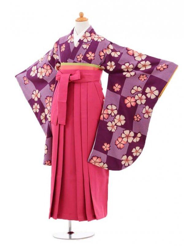 小学生卒業式袴女児jh0965紫撫子×袴チェリーピ