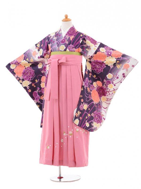 小学生卒業式袴女児jh0954パープルぼたん×袴