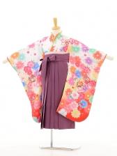ジュニア着物(女の子袴)0604白地花×紫袴