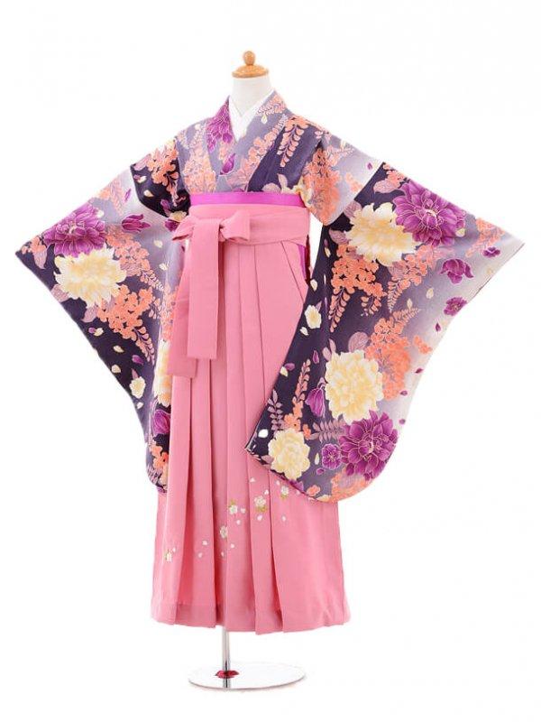 小学生卒業式袴女児jh0956パープルぼたんと藤