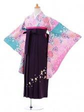小学生卒業式袴女児0984ピンク水色ぼかし花×