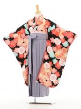 ジュニア着物(女の子袴)0744乙葉黒古典×パープ