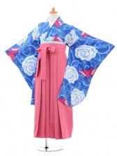 小学生卒業式袴女児jh0964水色大花に蝶×袴