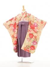 ジュニア着物(女の子袴)0723花夢二ベーシュ×紫矢