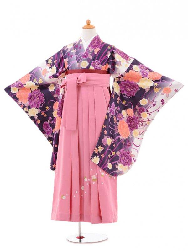 小学生卒業式袴女児jh0955パープルぼたん×袴