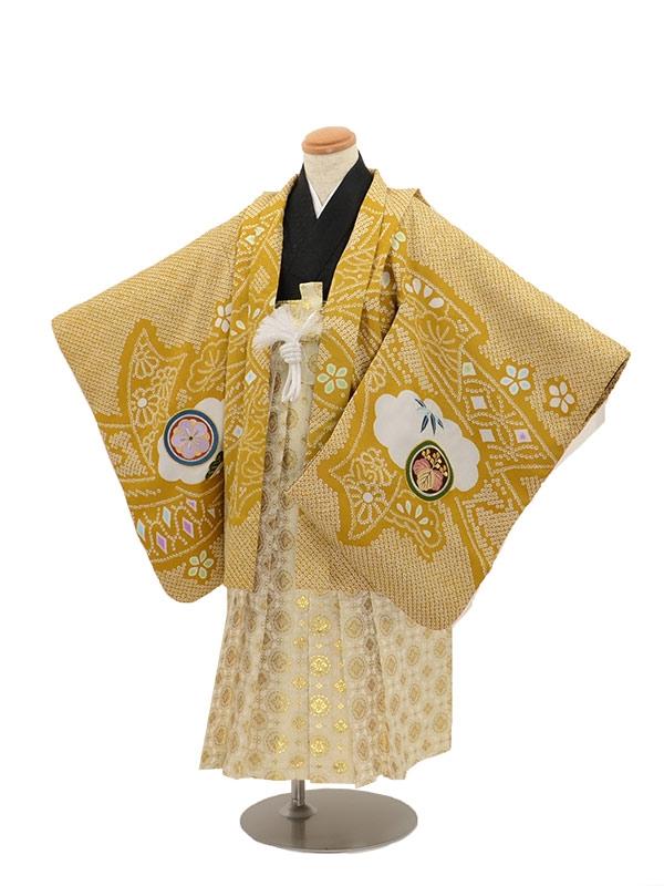 七五三 5歳男袴 兜黄からし絞り紋
