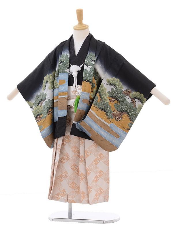 七五三 5歳男袴 連獅子 歌舞伎 黒