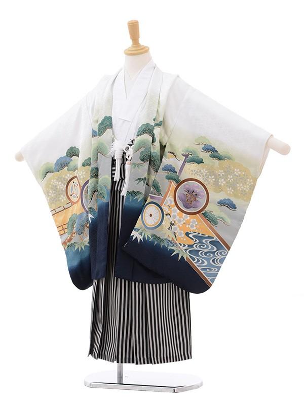 七五三 5歳男袴 兜に丸紋 白