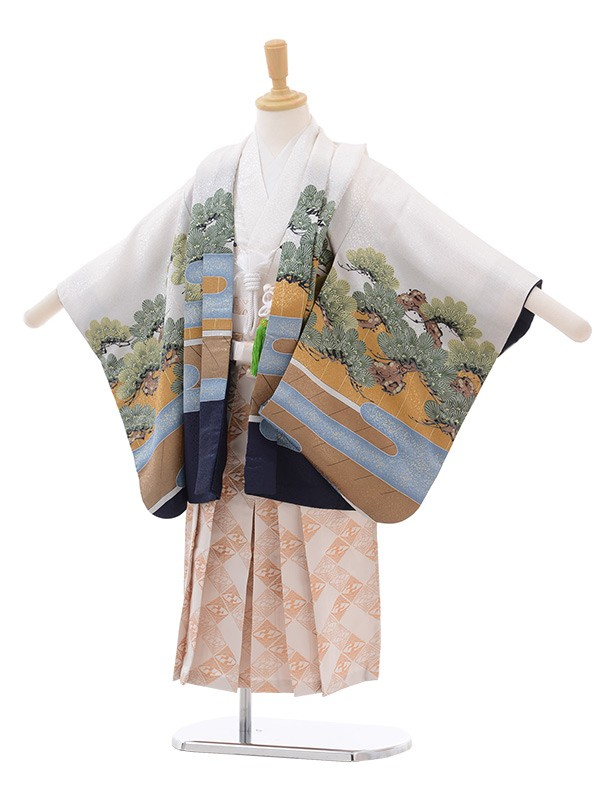 七五三 5歳男袴 連獅子 歌舞伎 白