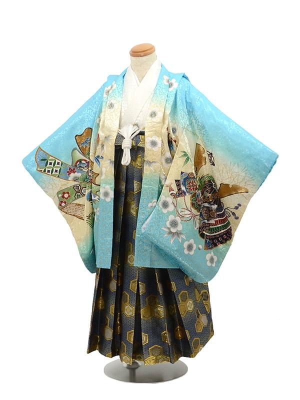 七五三 5歳男袴 兜 水色