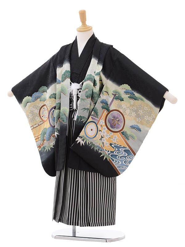 七五三 5歳男袴 兜に丸紋 黒