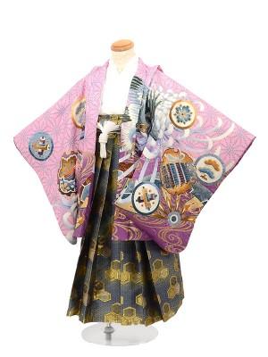 七五三 5歳男袴 鷹ピンク 紫