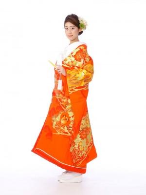色打掛レンタル6F025朱赤金松に御所花々鶴