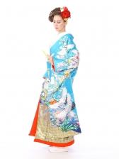 色打掛レンタル6F028ブルー地花山霞に鶴
