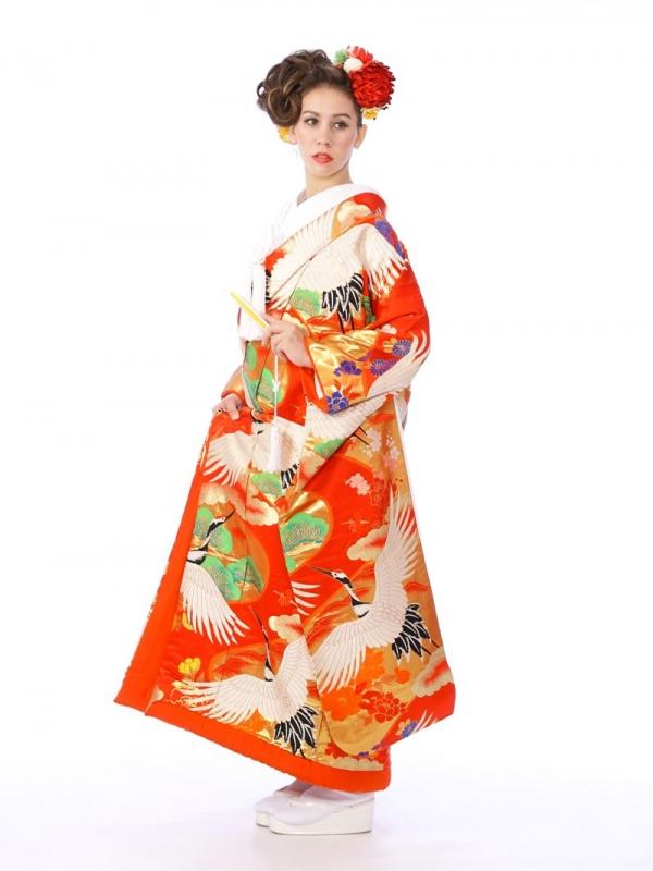 色打掛レンタル6F023朱赤金箔に鶴花松