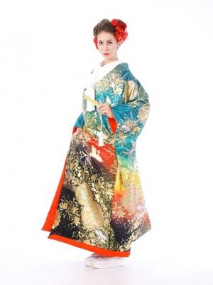 色打掛レンタル6F010赤/黄/緑/黒天平華紋