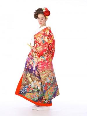 色打掛レンタル6F026ピンク/紫地梅花鳥紋花園