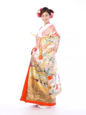 色打掛レンタル6F009ピンク/紫地大和絵乱菊