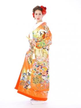 色打掛レンタル6F005オレンジ地 蓬菜賛華