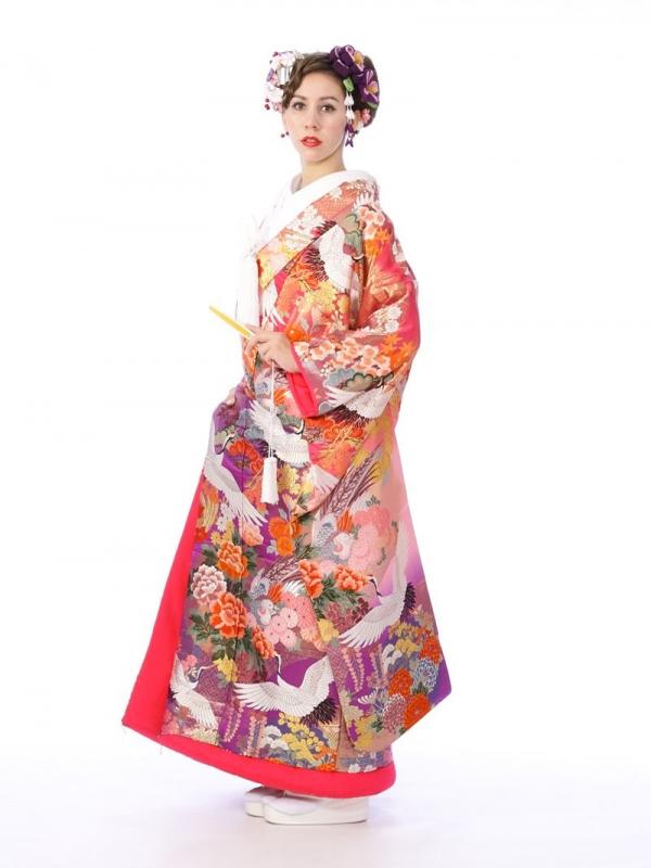 色打掛レンタル6F019赤地/紫地格天花鳥鶴