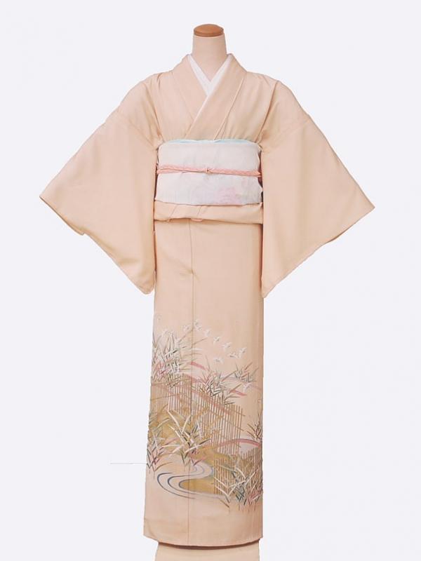 色留袖(夏)5001一つ紋オレンジ垣根に金笹